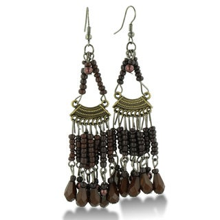 Adoriana Chandelier Dangle Earrings with Chocolate Brown Beaded Strands, 3 Inches Long