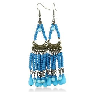 Adoriana Chandelier Dangle Earrings with Turquoise Colored Beaded Strands, 3 Inches Long