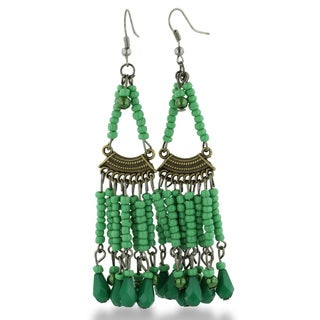 Adoriana Chandelier Dangle Earrings with Green Beaded Strands, 3 Inches Long