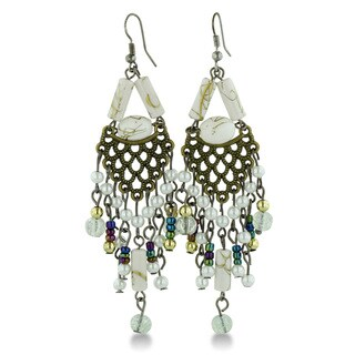 Adoriana Intricate White Beaded Gold Tone 3 1/2 Inch Chandelier Earrings