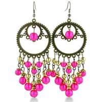 Adoriana Circular Antique Finish Gold Tone 3 1/2 Inch Pink Beaded Chandelier Dangle Drop Earring