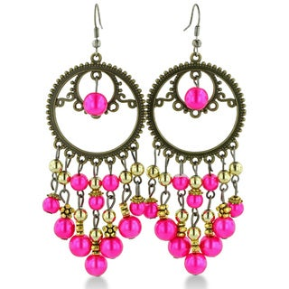Adoriana Circular Antique Finish Gold Tone 3 1/2 Inch Pink Beaded Chandelier Dangle Drop Earring