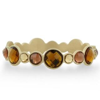 Adoriana Bronze Crystal Bezel Bangle Bracelet In Gold Tone