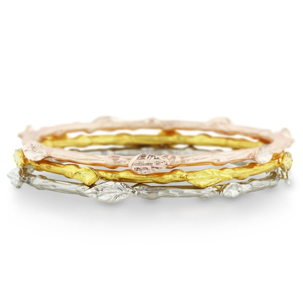 Adoriana Leaf Bangle Bracelet Set In Rose, Silver and Yellow Gold Tone