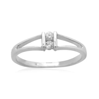 10k White Gold 1/10ct TDW Diamond Two Stone Promise Ring