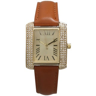 Olivia Pratt Women's Goldtone Leather Rectangular Rhinestone Watch