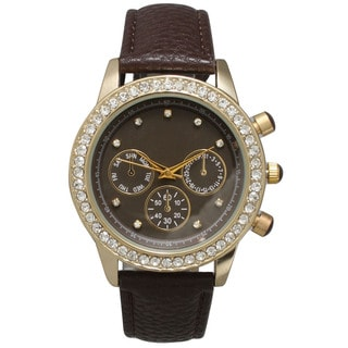 Olivia Pratt Women's Rhinestone Bezel Leather Chronograph Watch