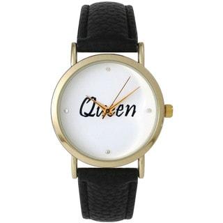 Olivia Pratt Women's 'Queen' Black Leather Watch