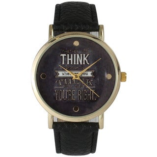 Olivia Pratt Women's 'You're Right' Black and White Leather Watch