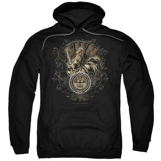 Sun/Scroll Around Rooster Adult Pull-Over Hoodie in Black