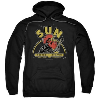 Sun/Rocking Rooster Adult Pull-Over Hoodie in Black