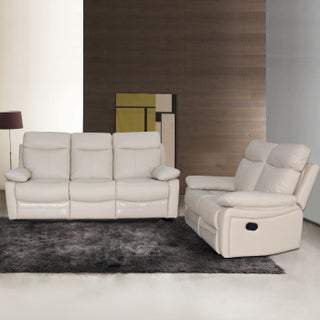 Ryker Leather Reclining Sofa and Loveseat 2-piece Set (Option: Taupe)