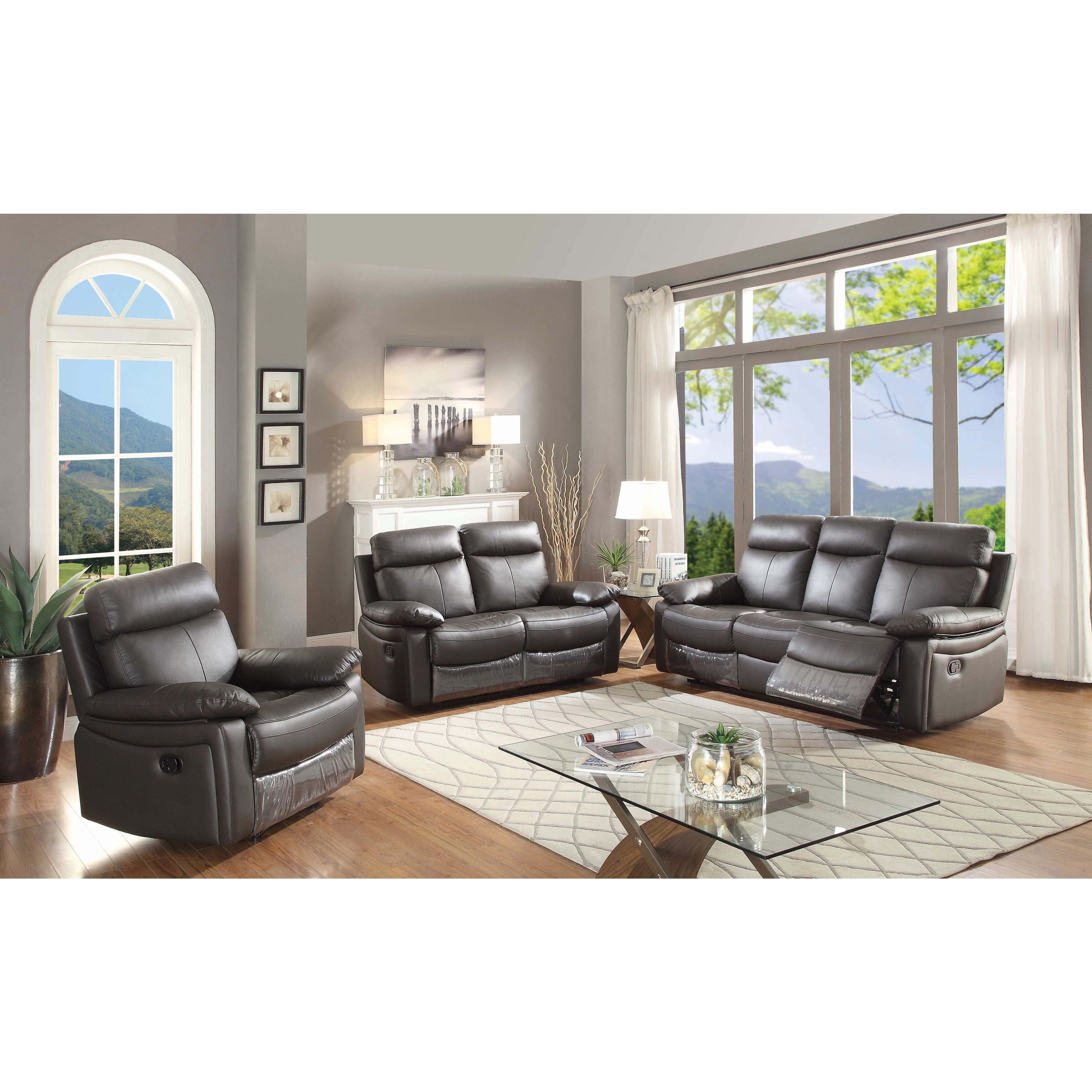 Ryker Contemporary Leather 3 Piece Sofa Set With 5 Recliners