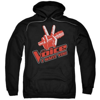 Voice/Red and White Adult Pull-Over Hoodie in Black