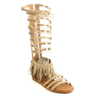 Beston EB13 Women's Faux Suede Fringed Knee-high Gladiator Sandal