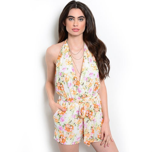 f78b0f6cb718 Shop Shop the Trends Women s Floral-print Halterneck Romper - Free Shipping  On Orders Over  45 - Overstock.com - 11854555