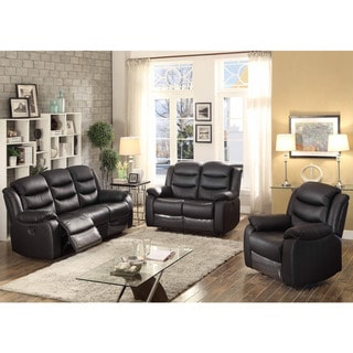 Bennett Black Leather Transitional 3-piece Set with 5 Reclining Seats