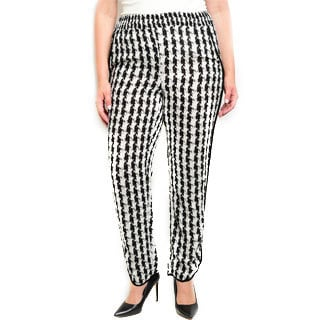 Shop the Trends Women's Plus-size Houndstooth Rayon Gathered Waist Straight-legged Pants