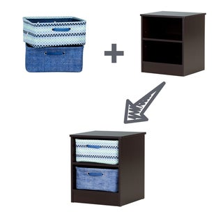 South Shore Libra Pure White Nightstand with 2 Baskets