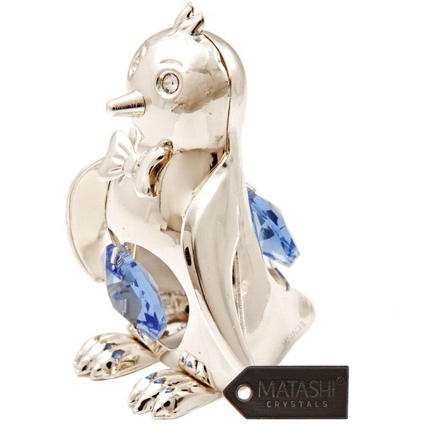 Matashi Silverplated Crystal Bowtied Penguin Ornament