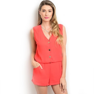 Trends Women's L26019PY Red Polyester V-neckline Button Detail Sleeveless Woven Romper