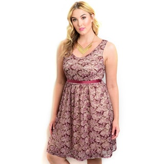 Shop the Trends Women's Plus Size Sleeveless Lace A-line Cocktail Dress