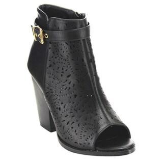 Women's Beston EC26 Beige, Black or Tan Faux-leather Laser-cut Booties