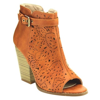Women's Beston EC26 Beige, Black or Tan Faux-leather Laser-cut Booties