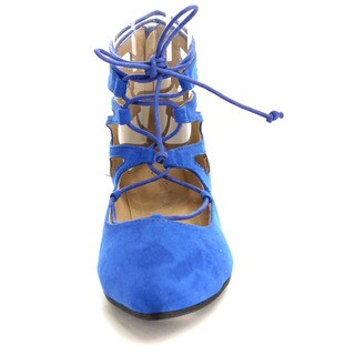 Beston Women's Pointed Toe Lace Up Flats