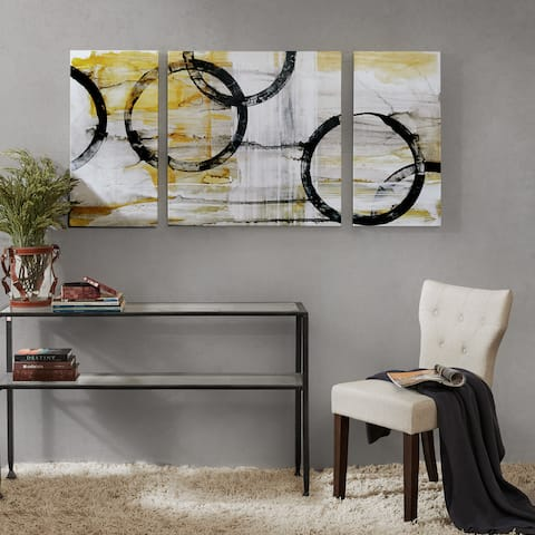 Madison Park Lunar Glow Yellow Gel Coated Canvas (Set of 3)