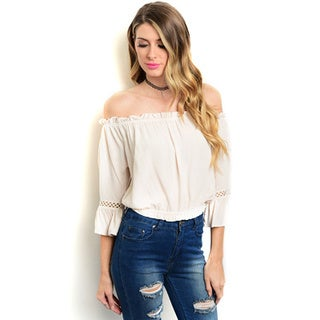 Shop the Trends Women's Off-the-shoulder Peasant Top With Smocked Hem