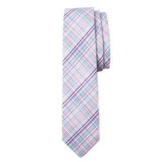 Muted Plaid Pink and Blue Tie