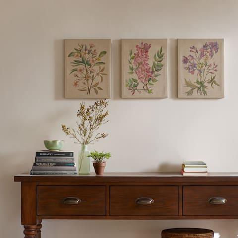 Madison Park Linen Botanicals Printed Linen Canvas (Set of 3) - Multi