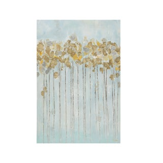 Madison Park Minted Forest Seafoam Gel Coated Canvas with Gold Foiling
