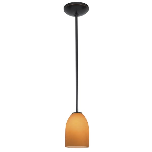 Access Lighting Bordeaux Bronze LED Rod Pendant, Amber Shade