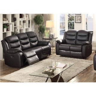 Bennett 2 Piece Black Leather Transitional Living Room Set With 4 Recliners