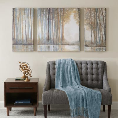 Madison Park Forest Reflections Gel Coated Canvas (Set of 3) - Multi