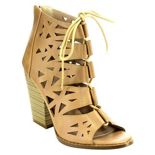NATURE BREEZE EC24 Women's Laser Cut Out Lace Up Back Zip Chunky Ankle Booties