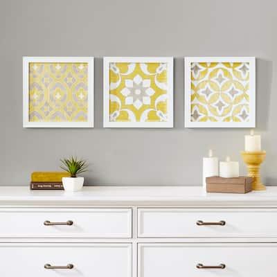 Madison Park Tiles Framed Gel Coated Paper Set of 3