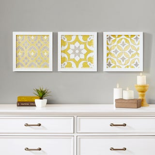 Madison Park Tuscan Tiles Yellow Framed Gel Coated Paper (Set of 3)