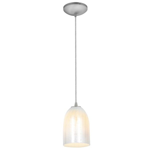 Access Lighting Bordeaux Steel LED Cord Pendant, Wicker White Shade