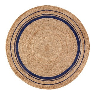 Jani Tara Blue Rings Jute Rug (6' Round)