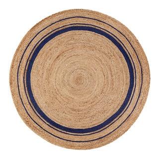 Jani Tara Blue Rings Jute Rug (8' Round)