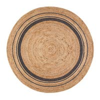 Jani Tara Grey Rings Jute Rug (4' Round) - 4' Round