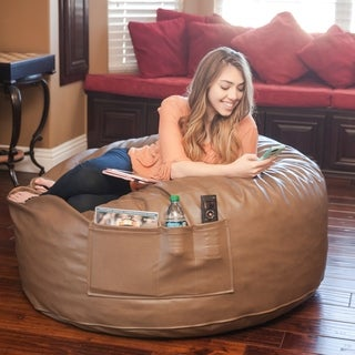 Integrity Bedding Large Leatherette Memory Foam Kickin' It Bean Bag Chair
