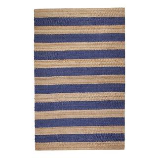 Jani Mona Blue Striped Jute Rug (4' x 6')