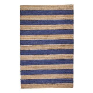 Jani Mona Blue Striped Jute Rug (5' x 7')