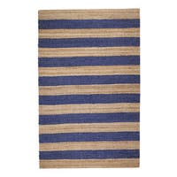 Jani Mona Blue Striped Jute Rug (5' x 7')