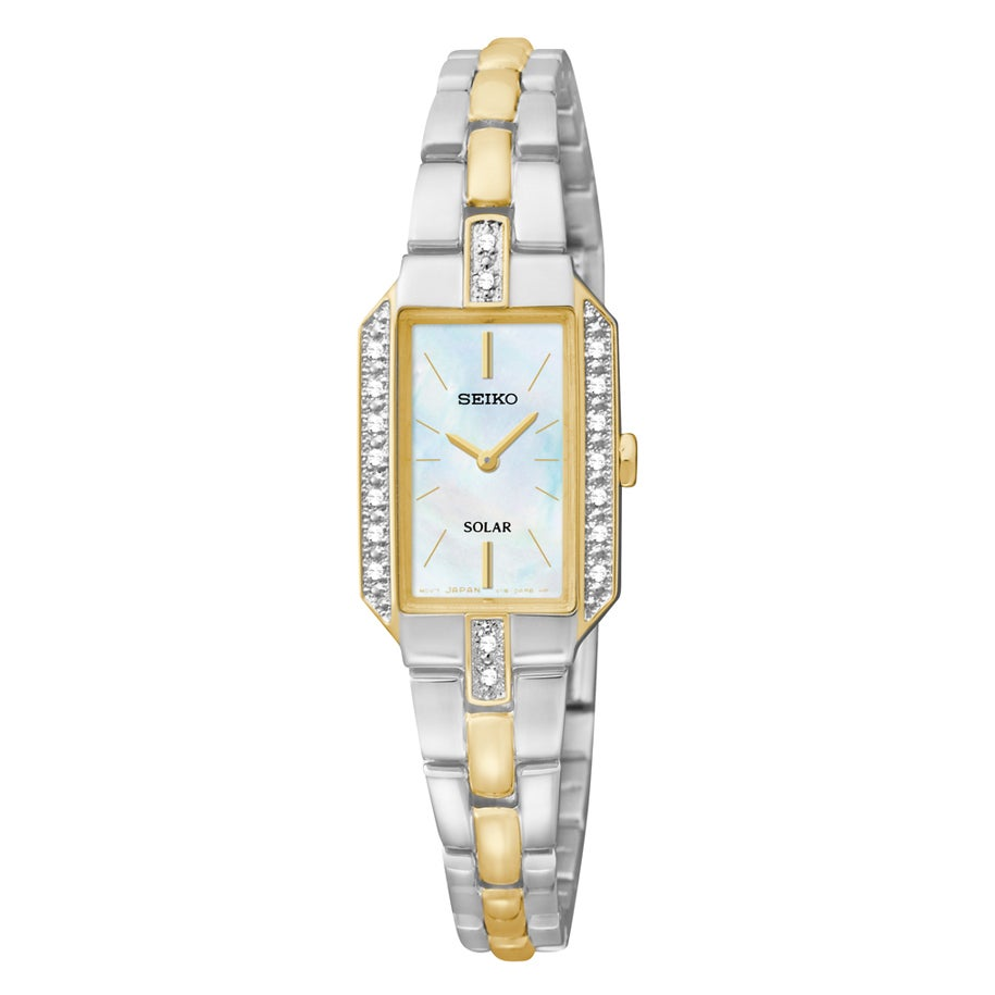 Seiko Women's SUP234 Mother of Pearl Dial Two Tone Strap ...