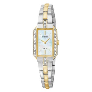 Seiko Women's SUP234 Mother of Pearl Dial Two Tone Strap Stainless Steel Solar Water Resistant Watch|https://ak1.ostkcdn.com/images/products/11854802/P18755809.jpg?impolicy=medium